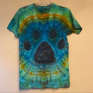 Paw print dog lover hand tie dyed shirt